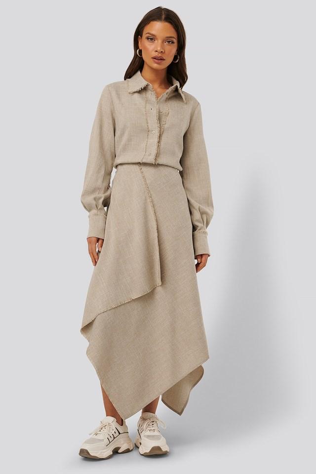 Raw Edge Asymmetric Skirt Outfit.