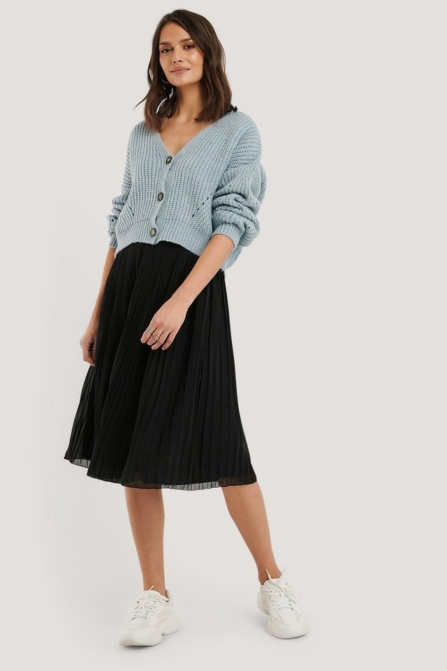 Pleated Midi Skirt Outfit.