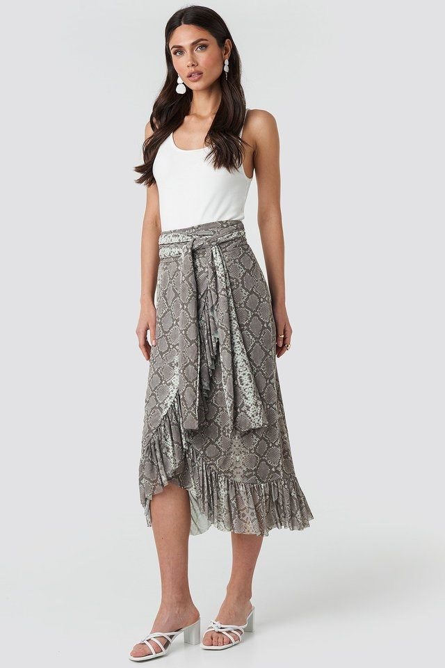 Mesh Tied Waist Ankle Skirt Outfit.
