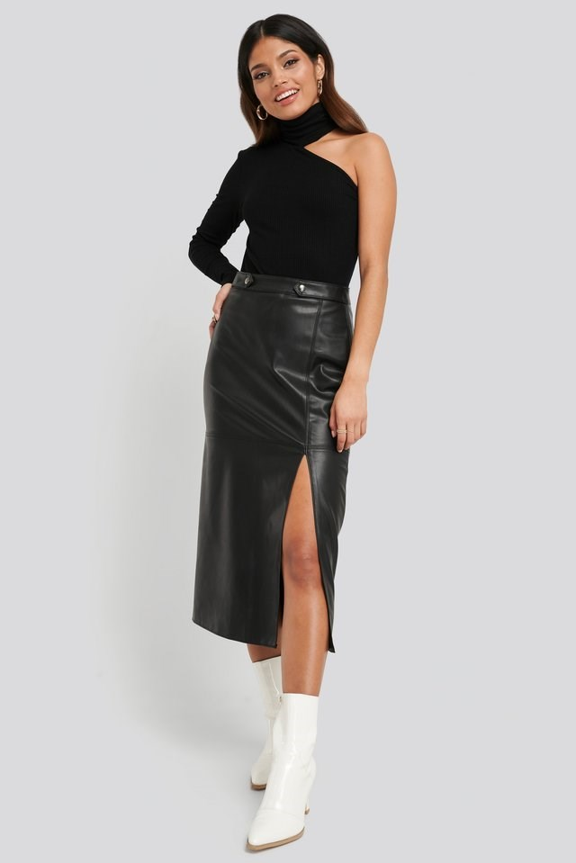 Faux Leather Side Slit Skirt Outfit.
