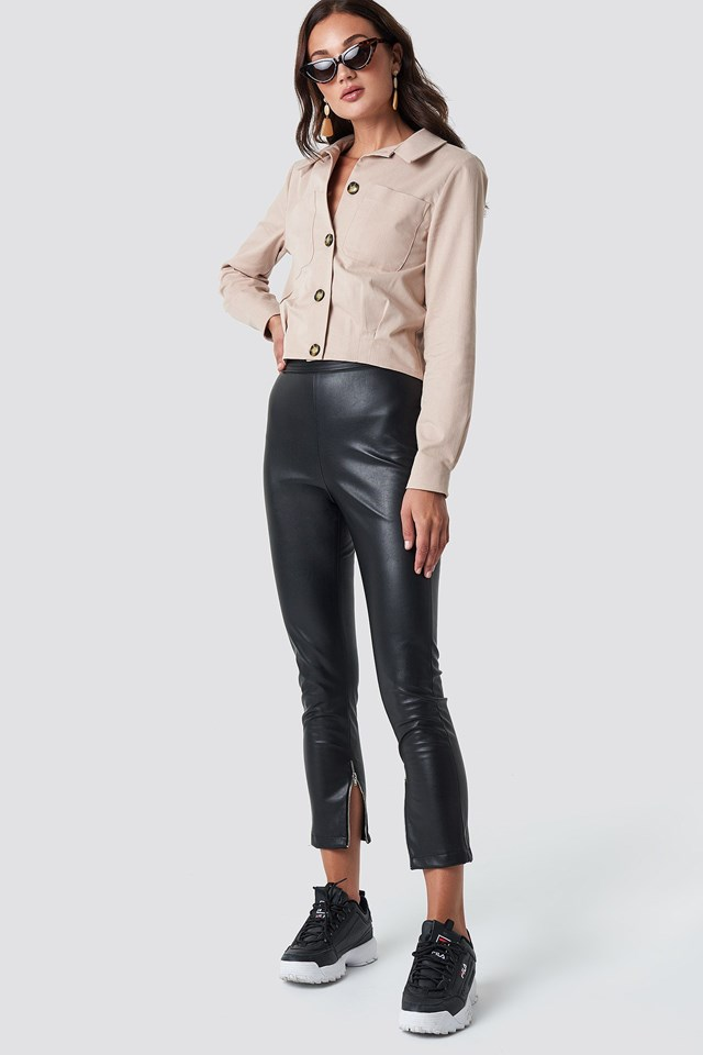 Zip Detail PU Pants with Cotton Jacket