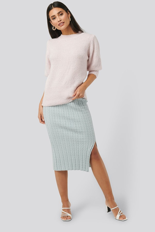 Knitted Pencil Skirt Outfit.