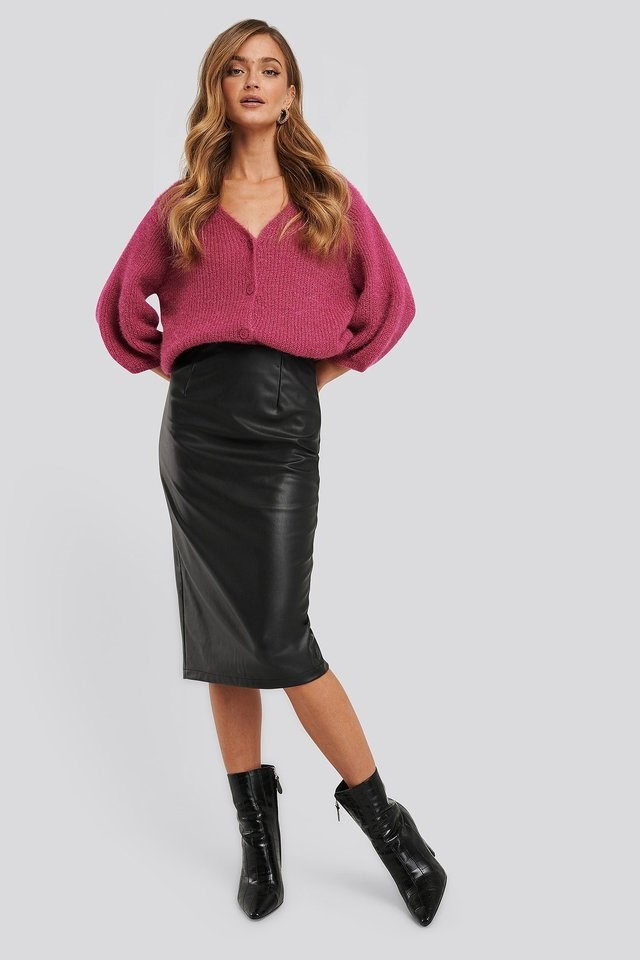 Faux Leather Midi Skirt Outfit.