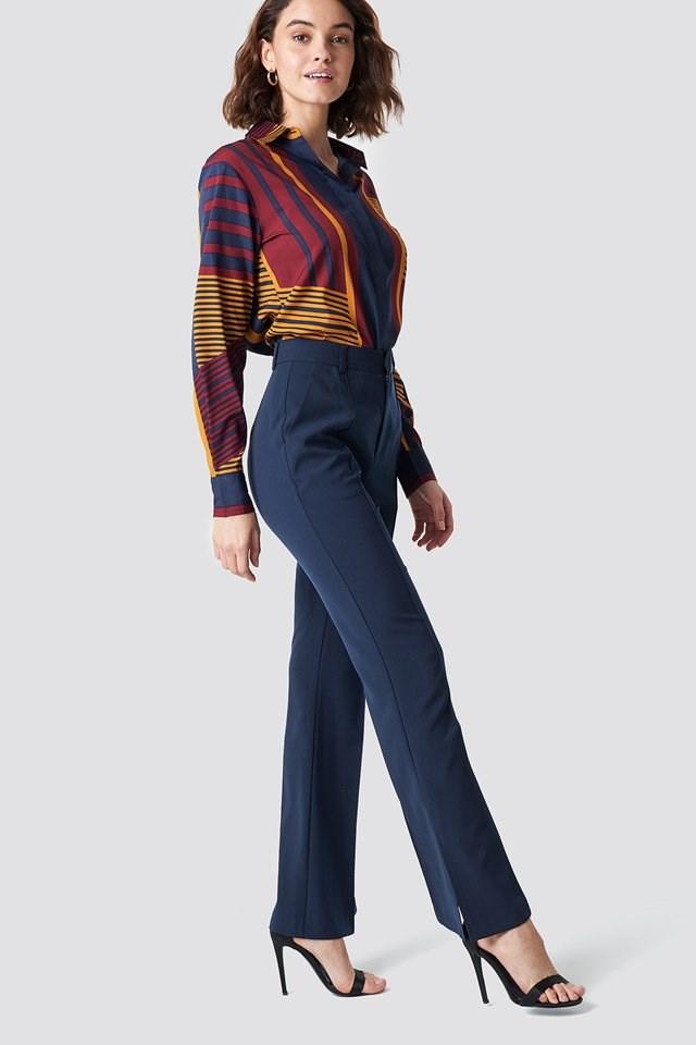 Seamline Suit Pants with Stripes Shirt