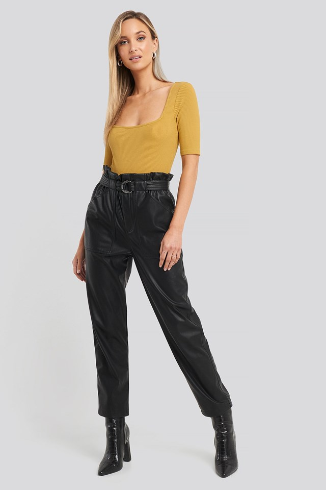 Square Neck Ribbed Body Outfit.