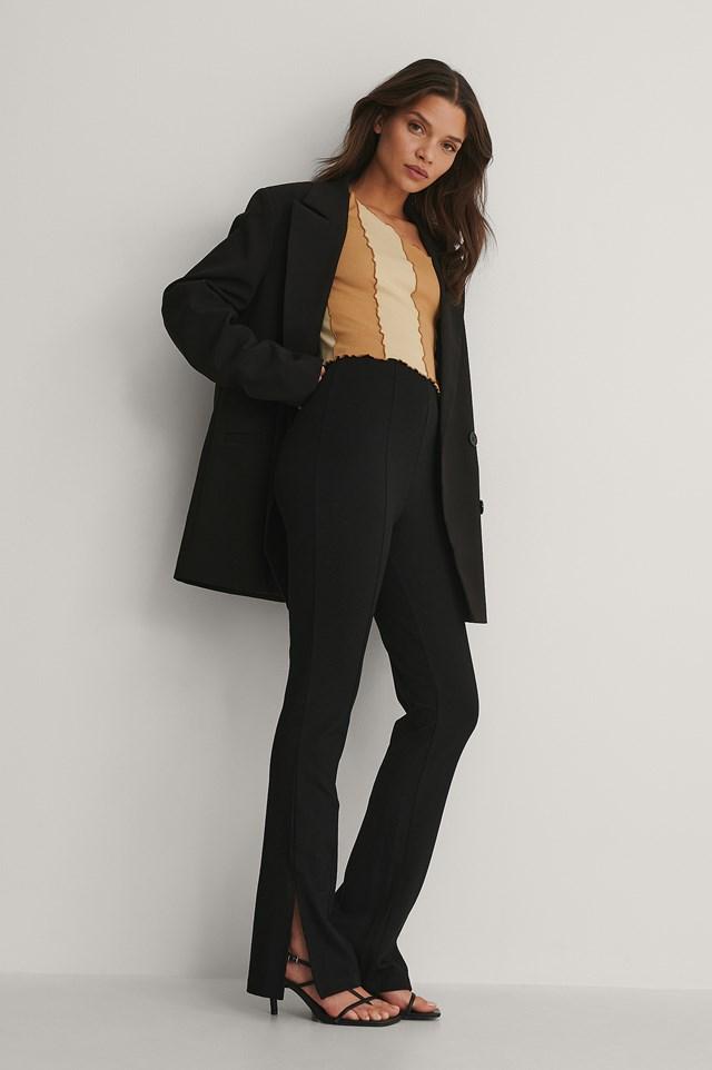 Black Slim-fit Super Stretch Slit Pants