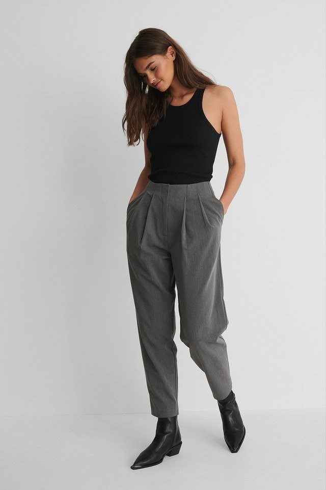 Deep Pleat Cropped Pants Outfit.