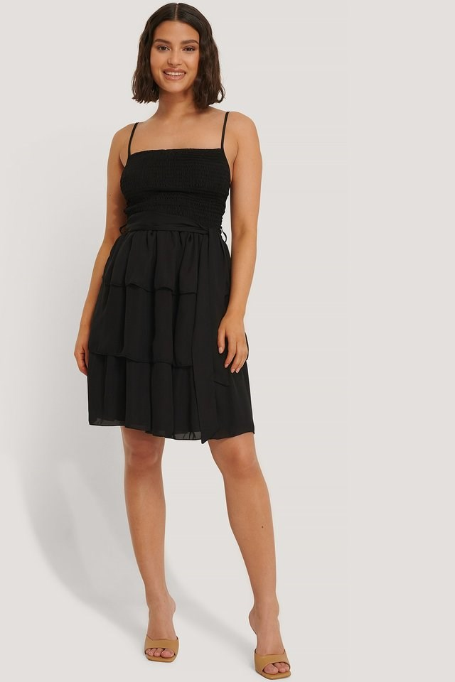 Belted Gipe Detail Mini Dress Outfit.