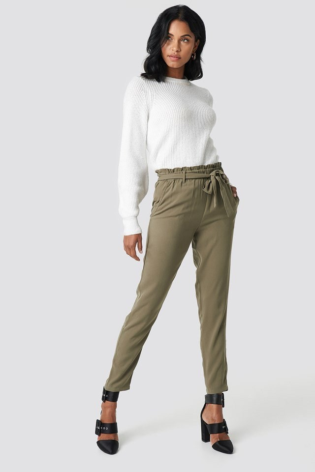 Tied Waist Pants with Crew Neck Knitted Sweater