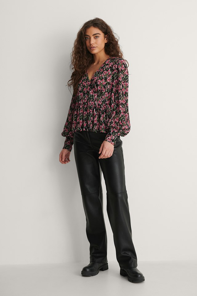 Structured Tie Side Blouse Outfit.