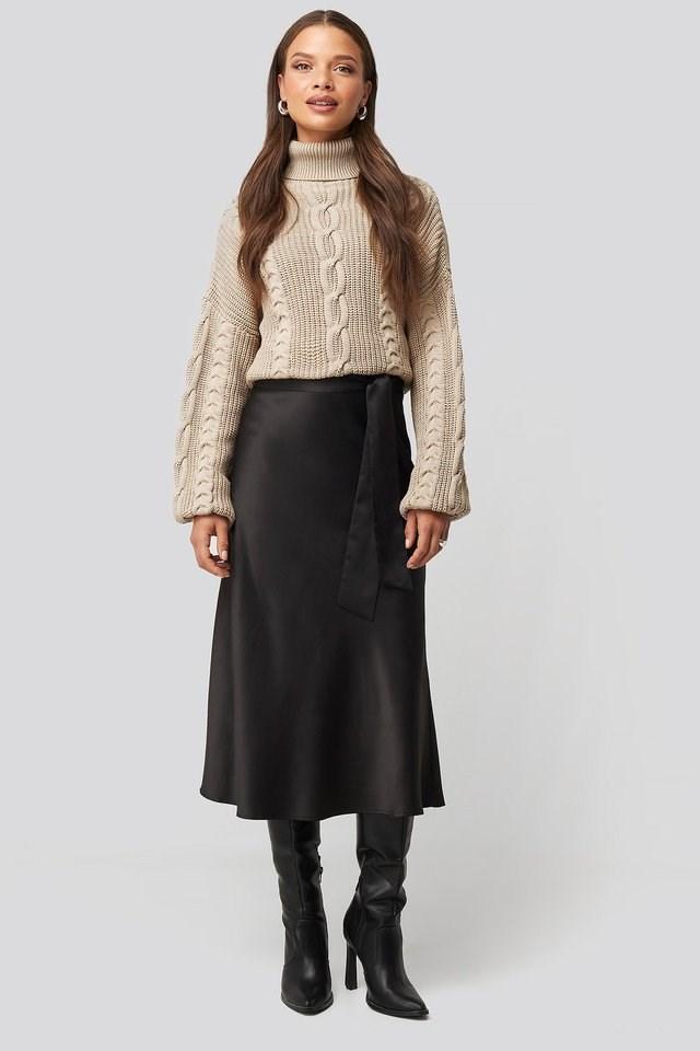 Tie Waist Satin Skirt Outfit.