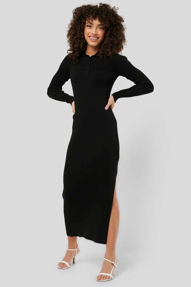 Polo Collar Knit Maxi Dress Outfit.