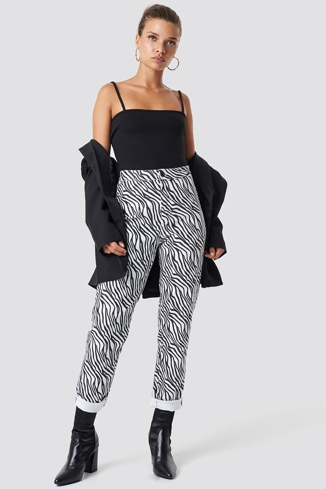 Urban Zebra Trousers with Simple Bandeau Singlet Outfit