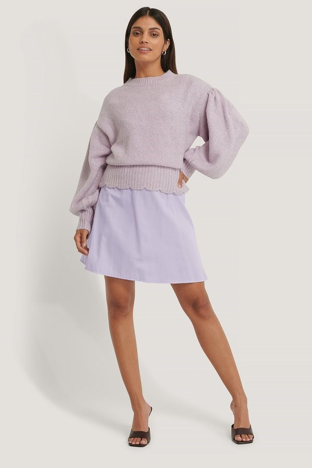 Dropped Sleeve Knitted Sweater Outfit.