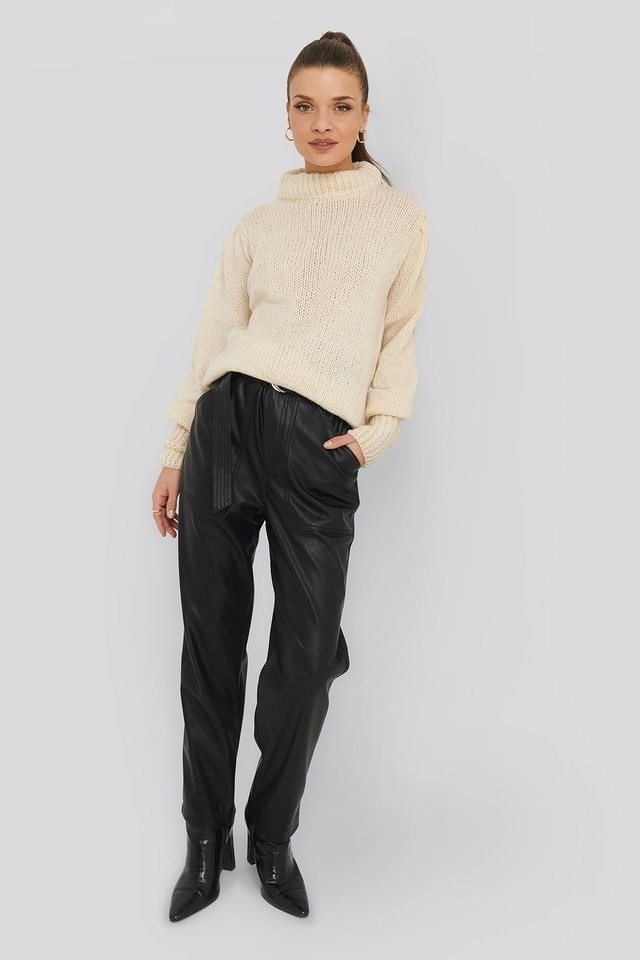 Puff Sleeve Wide Neck Knitted Sweater Outfit.