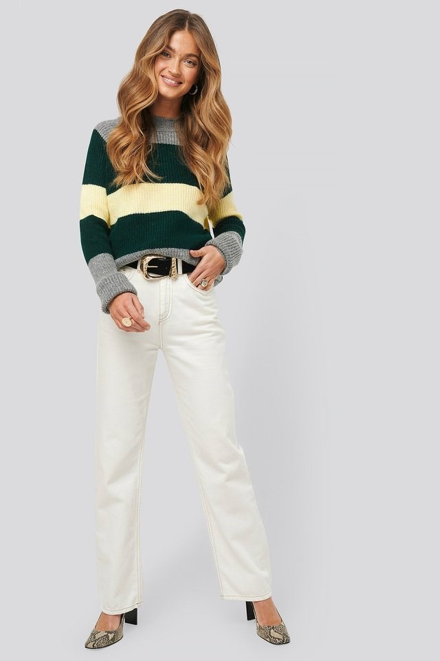 Raglan Sleeve Striped Knitted Sweater Outfit.