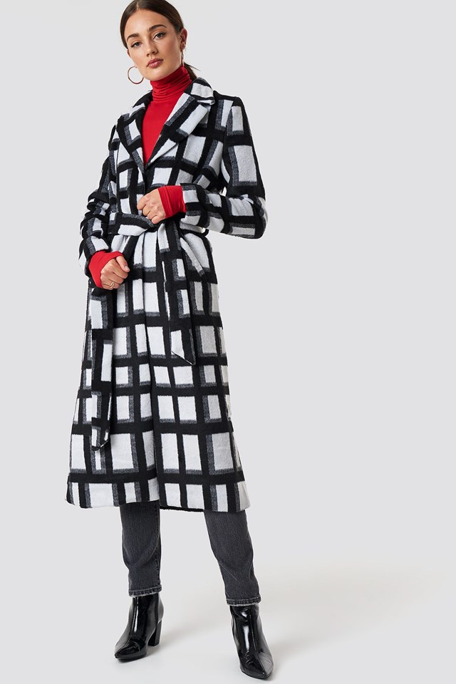 Long Checked Coat Outfit