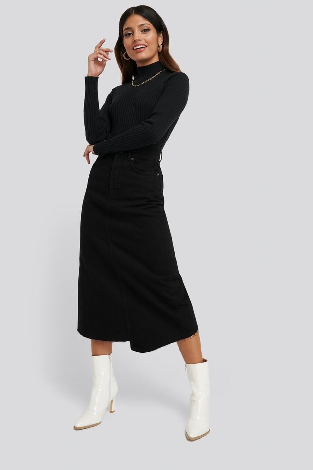 Side Split Ribbed Sweater Outfit.