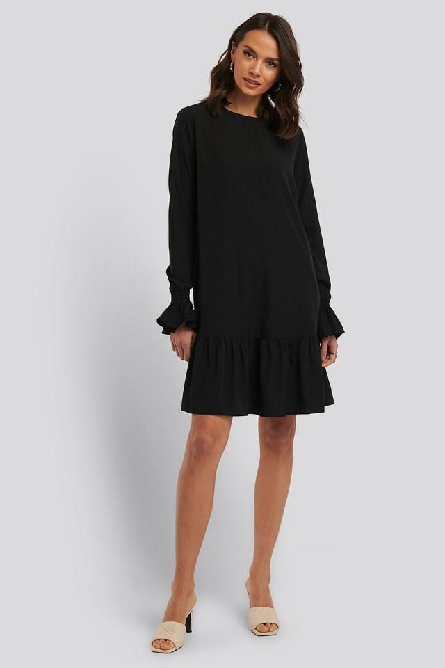 Round Neck Flounce Mini Dress Outfit.