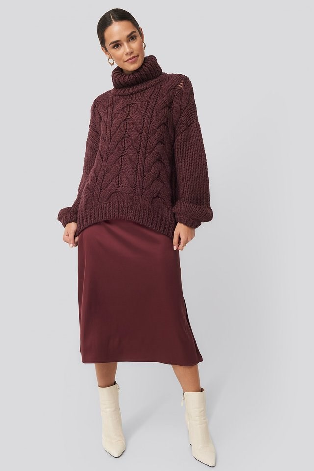 Wool Blend High Neck Heavy Cable Knitted Sweater Outfit.