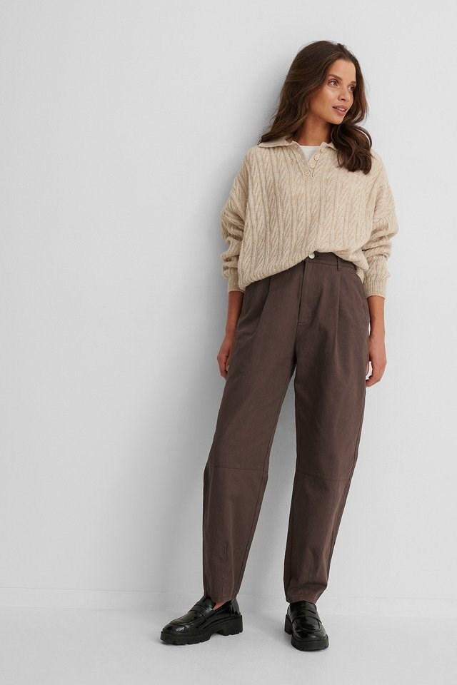 Dark Brown Soft Cotton Coccoon Pants