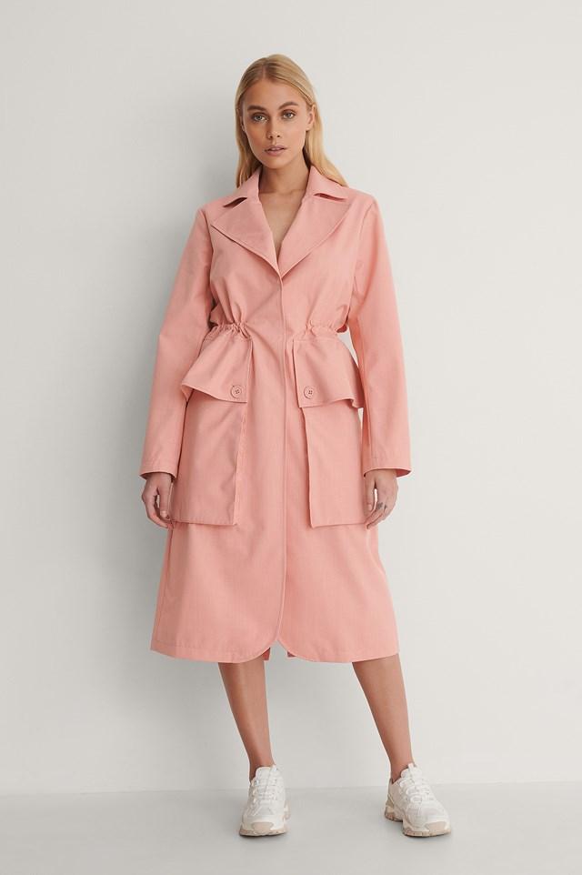 Big Pocket Drawstring Trench Coat Outfit.