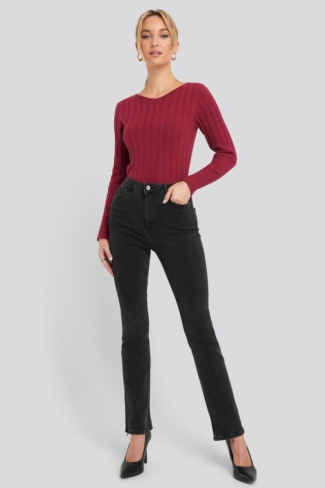Recycled Split Hem Skinny Jeans Black Outfit.