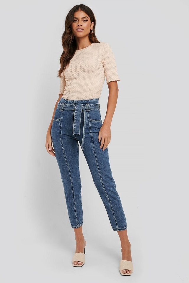 Paper Waist Jeans Blue Outfit.