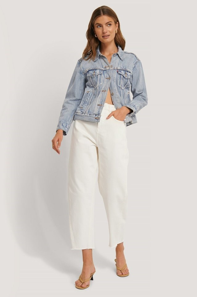 High Waist Barrel Leg Jeans White Outfit.