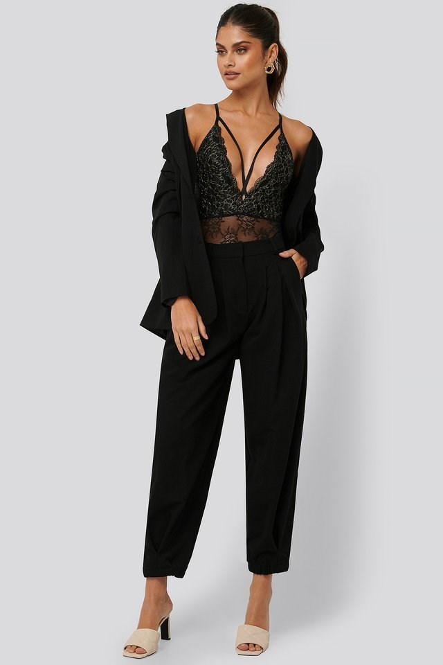 Glittery Lace Strap Bodysuit Outfit.
