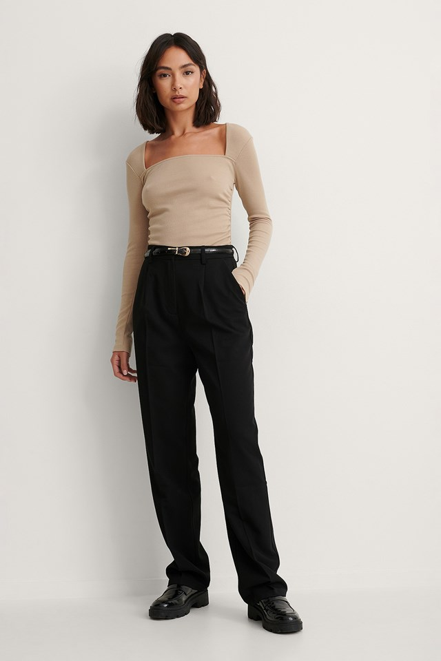 Square Neck Rouched Detail Top Outfit!