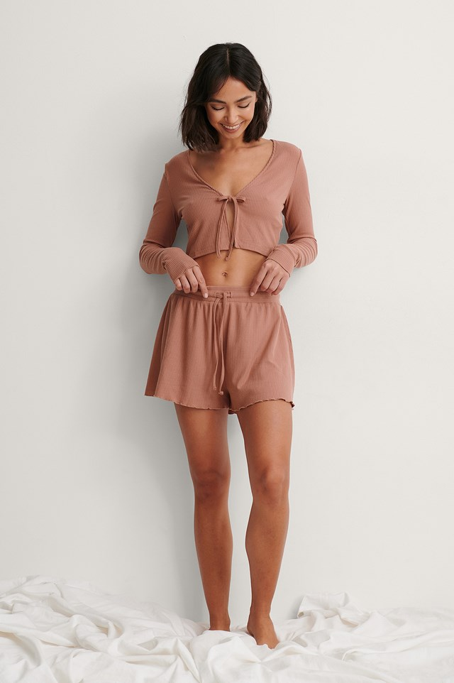 Dusty Pink Front Tie Ribbed Loungewear Top