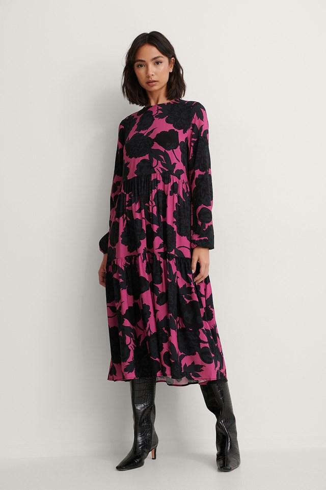 Long Sleeve Printed Flounce Dress Outfit!