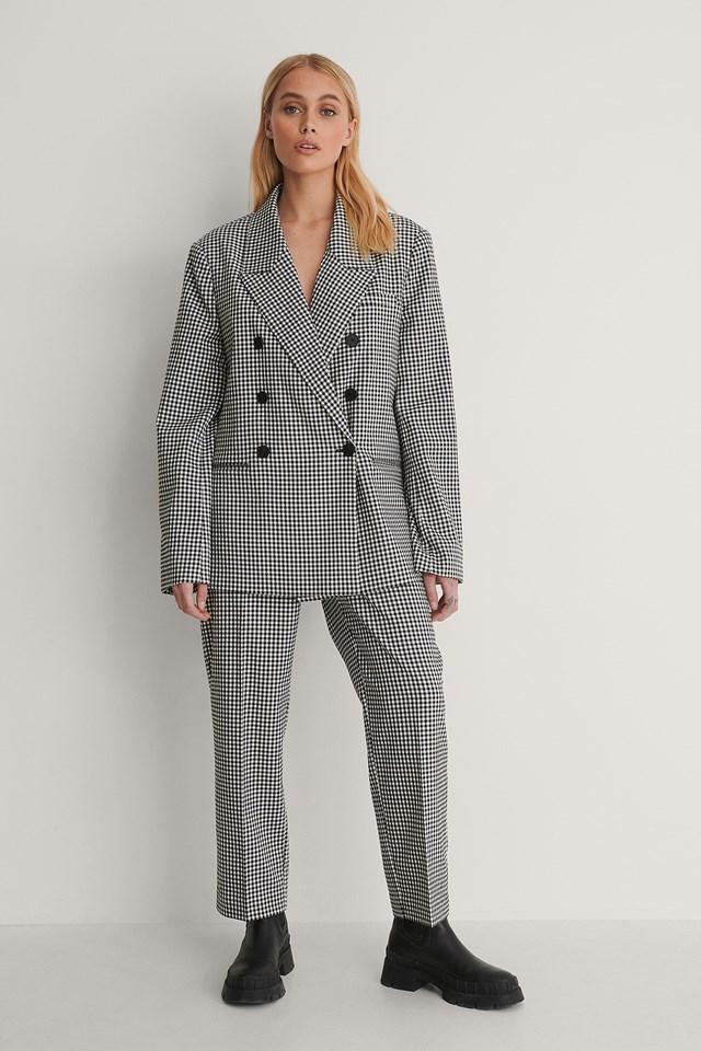 Black/White Check Double Breasted Blazer