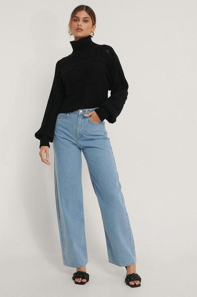 Organic Extra Wide Leg Denim Outfit.