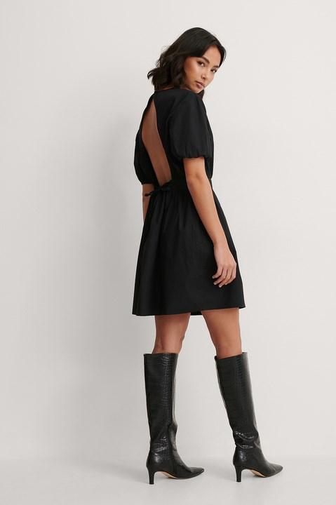 Open Back Drop Shoulder Dress Outfit.