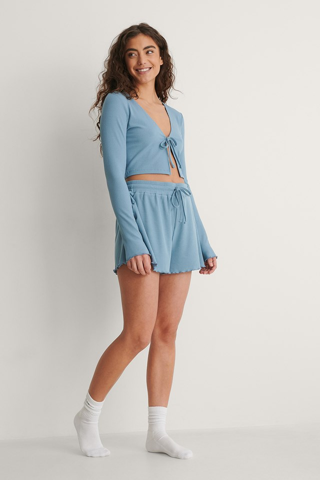 Front Tie Ribbed Loungewear top Outfit.