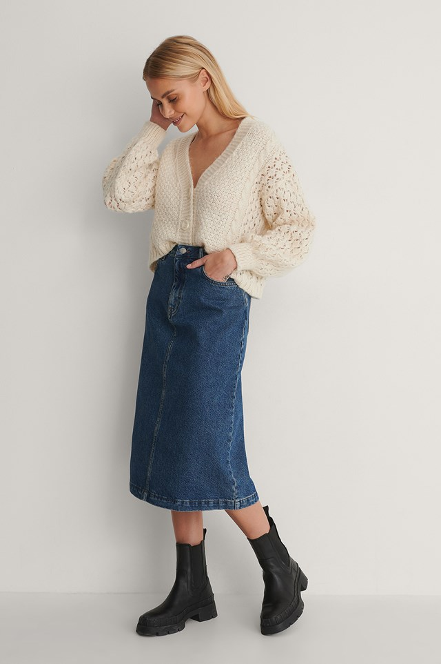 A-line Midi Denim Skirt Outfit.