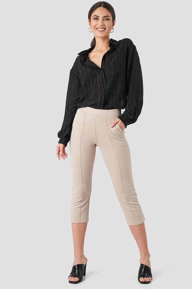 Elastic Waist Front Seam Pants Outfit.