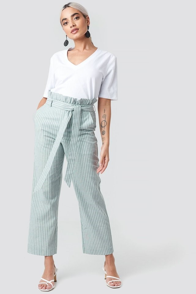 Paper Waist Striped Trousers Outfit.