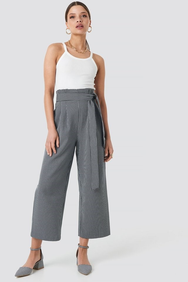 Tie Waist Cropped Wide Pants Outfit.