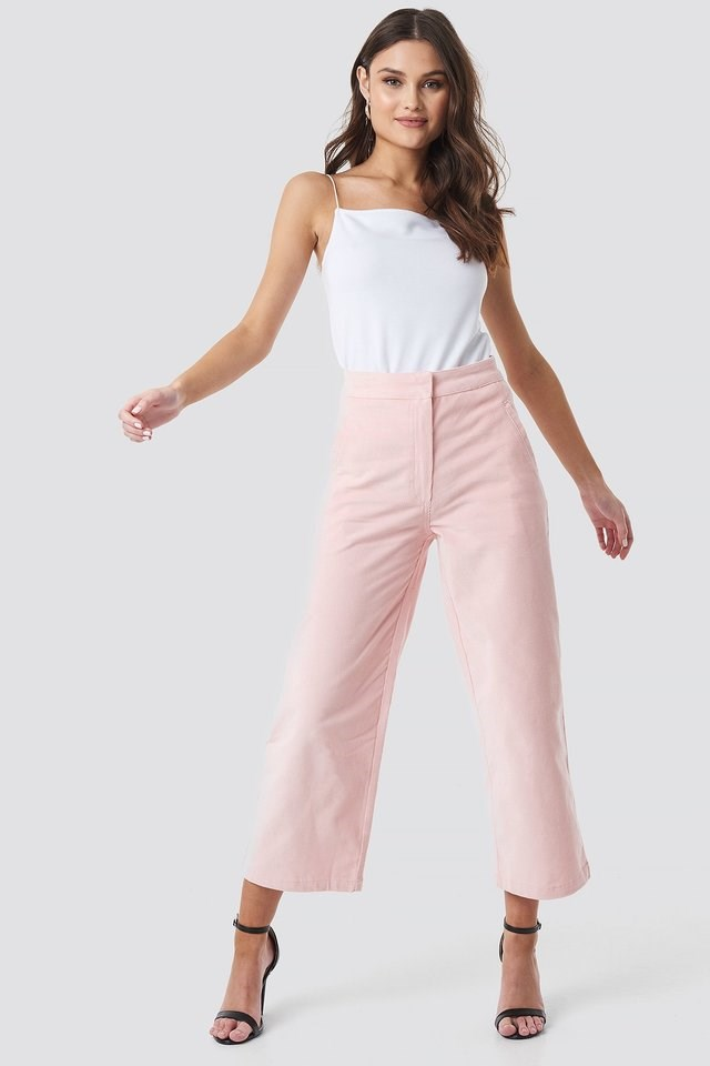 Corduroy Cropped Straight Trousers Outfit.