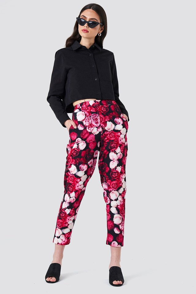 Printed Straight Pants Outfit.