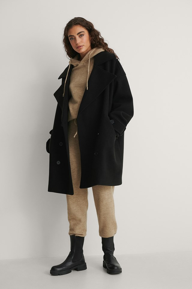 Oversized Short Coat Outfit.