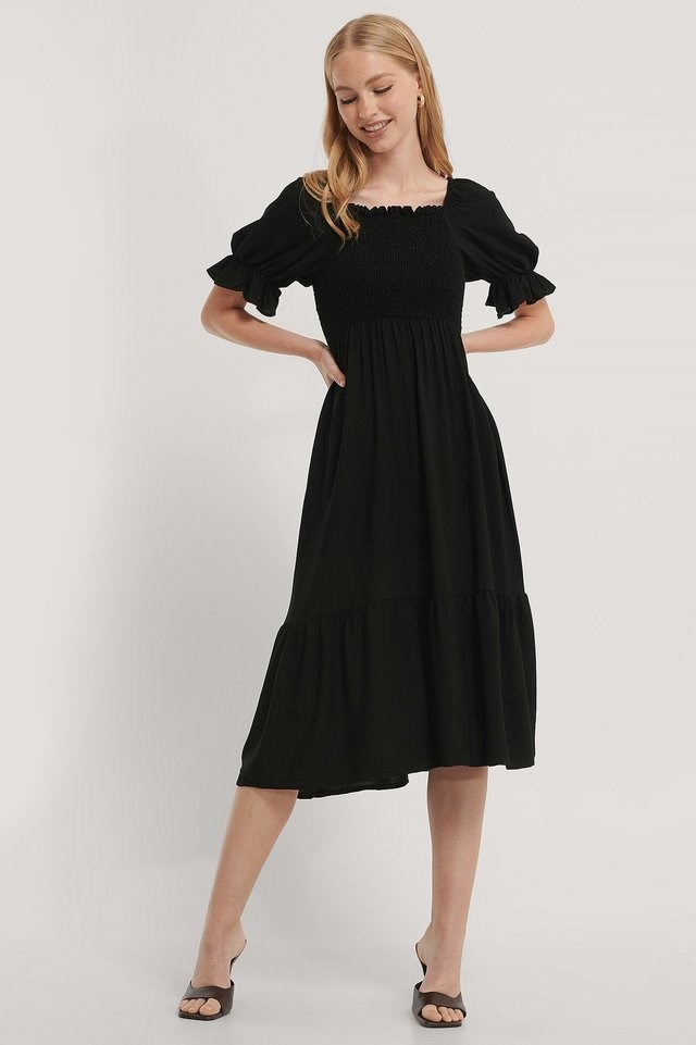 Tile Guipure Midi Dress Outfit.
