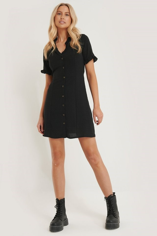 Button Frill Detail Mini Dress Outfit.