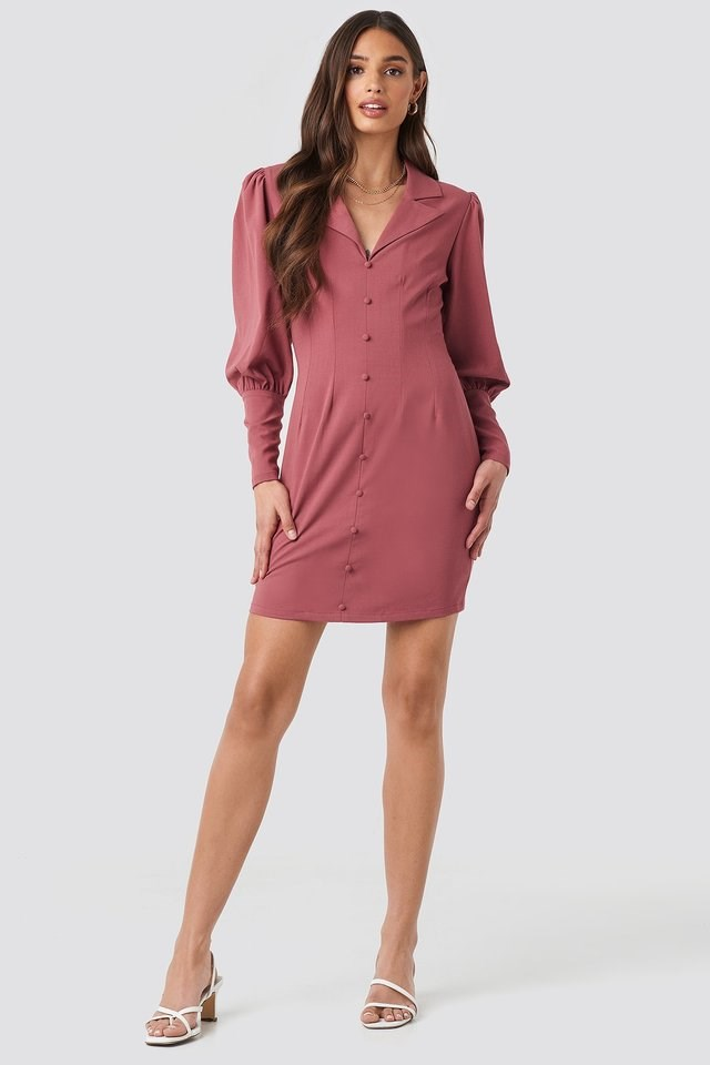 Button Front Mini Dress Outfit.