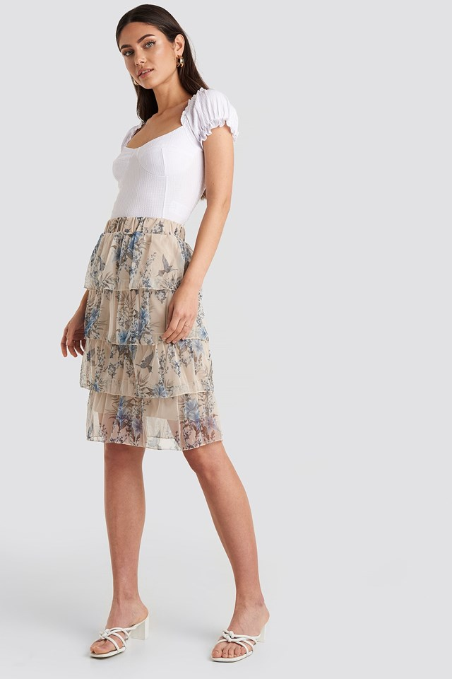 Patterned Midi Skirt Outfit.