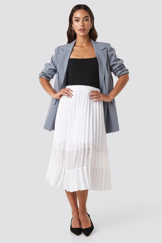 Co-ord Pleated Panel Midi Skirt Outfit.