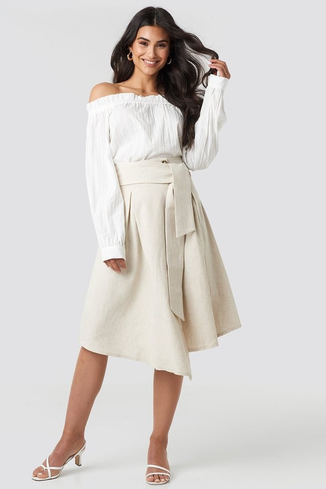 Wrap Over Linen Look Skirt Outfit.